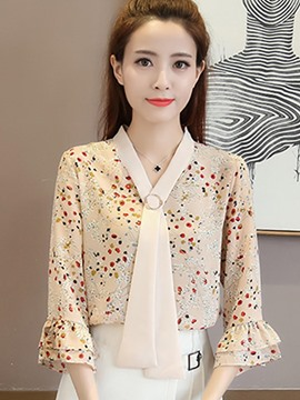 Ericdress V-Neck Floral Print Flare Sleeve Blouse