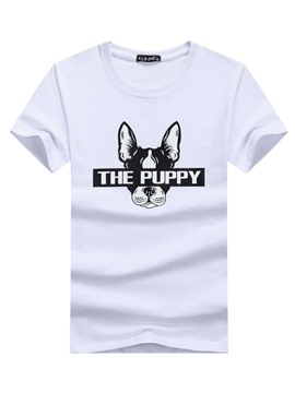 Ericdress The Puppy Printed Mens Short Sleeve Loose T Shirt