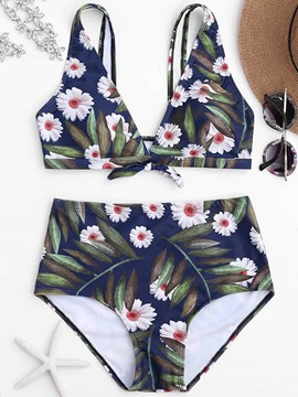 Ericdress Floral Print Front Tie Bikini Suits