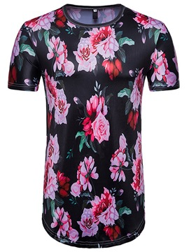 Ericdress Floral Print Mens Short Sleeve Slim Fit Tee Shirt