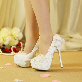 Ericdress Lace Rhinestone Slip-On Platform Stiletto Heel Wedding Shoes