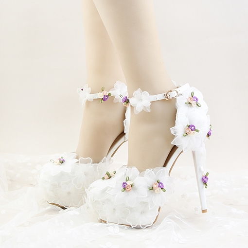 Ericdress Line-Style Buckle Round Toe Platform Wedding Shoes