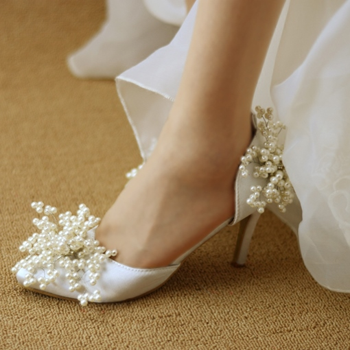 Ericdress Rhinestone Pointed Toe Plain Stiletto Heel Wedding Shoes