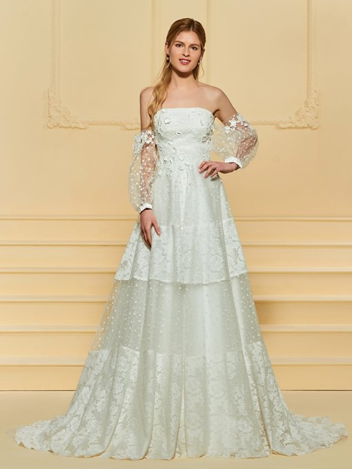 Ericdress Tiered Lace Wedding Dress with Sleeves
