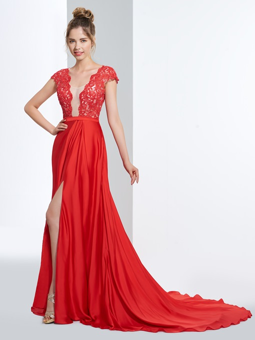 Ericdress A Line Cap Sleeve Lace Split-Front Backless Prom Dress