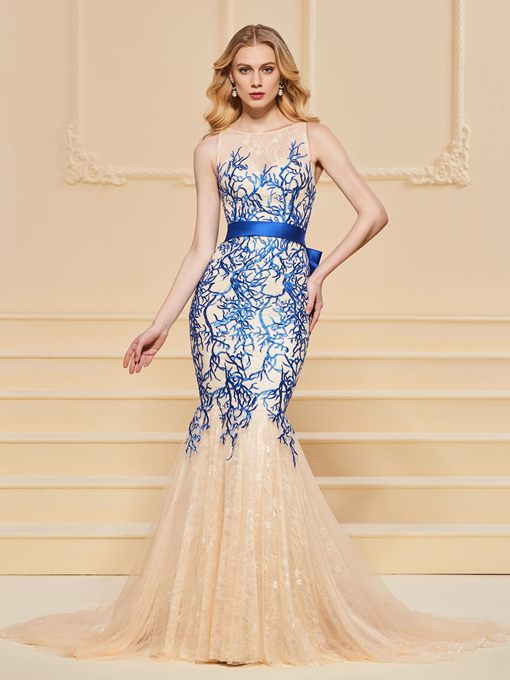 Ericdress Bateau Neck Embroidery Lace Mermaid Evening Dress