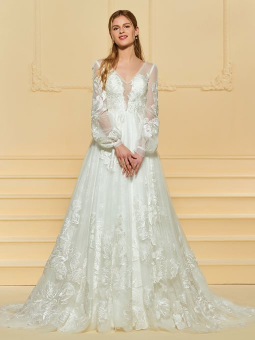 Ericdress Long Sleeves Appliques Vintage Wedding Dress