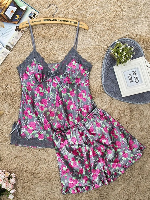 Ericdress Floral Summer Satin Pajamas Set Sleepwear Loungewear