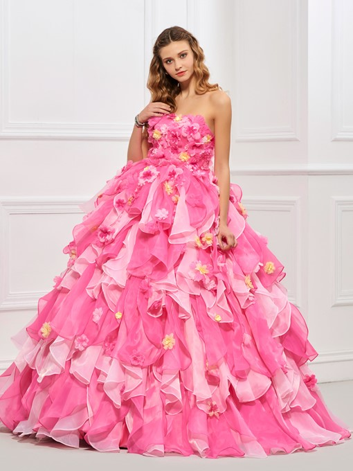 Ericdress Strapless Cascading Ruffles Flowers Quinceanera Dress