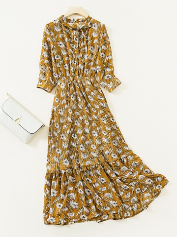 Ericdress Ankle-Length Bow Collar Print Women's Long Day Dress