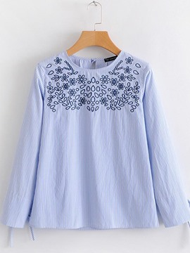 Ericdress Embroidery Loose Stripe Pullover Long Sleeve Blouse