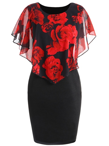 Ericdress Plus Pencil Floral Print Color Block Bodycon Dress