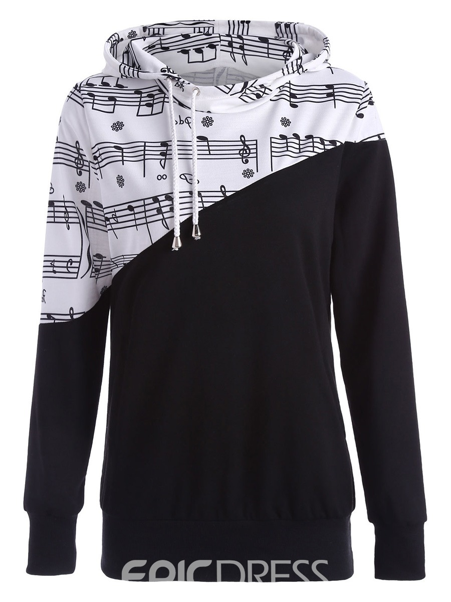 Ericdress Patchwork Note Print Cool Hoodie