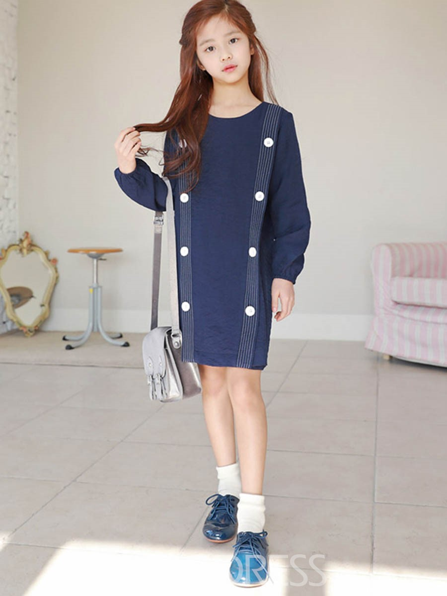 Ericdress Pleated Stripe Button Pullover Girl's Long Sleeve Casual Dress