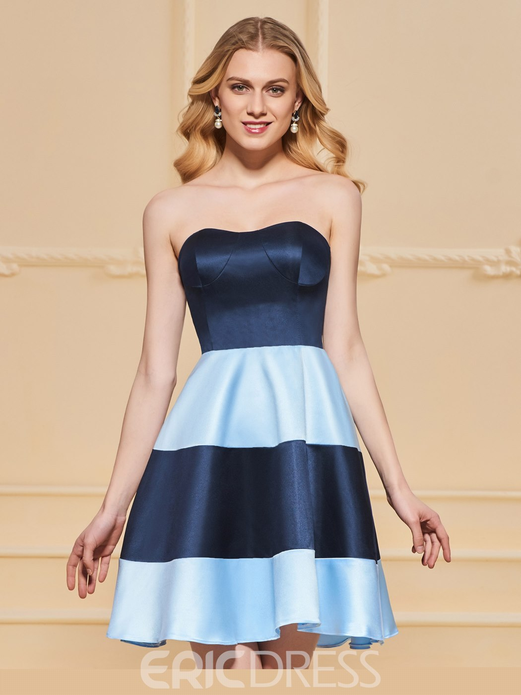 Ericdress Short A Line Strapless Contrast Color Cocktail Dress