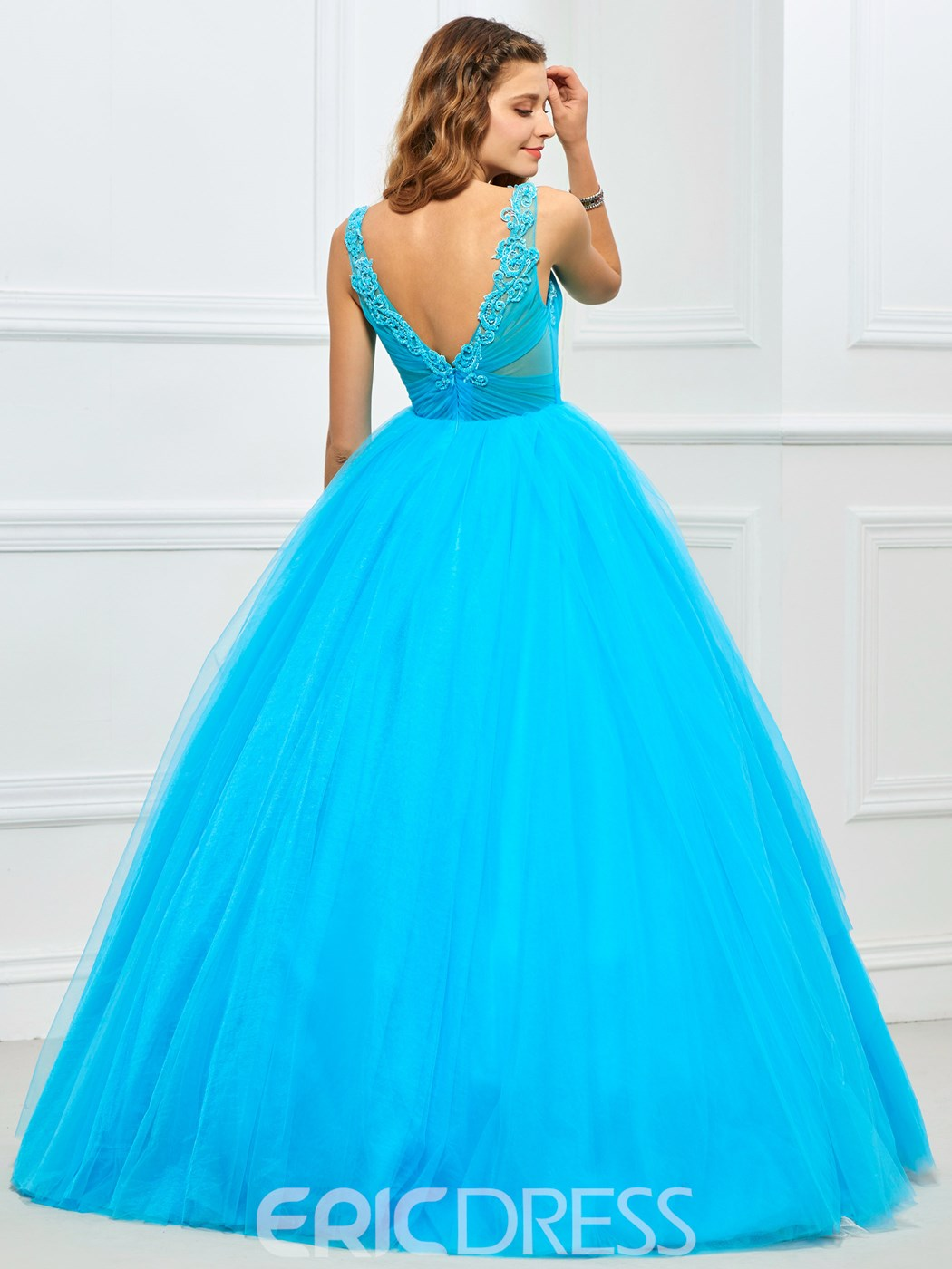 Ericdress Appliques V-Neck Pleats Quinceanera Dress
