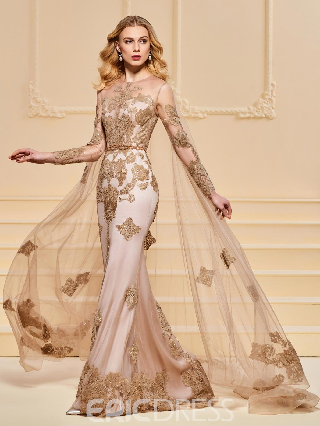 Ericdress Mermaid Applique Long Sleeve Evening Dress With Watteau Train