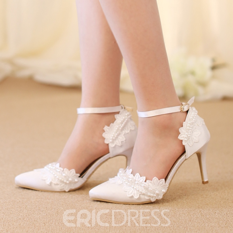 Ericdress Beads Floral Pointed Toe Stiletto Heel Wedding Shoes