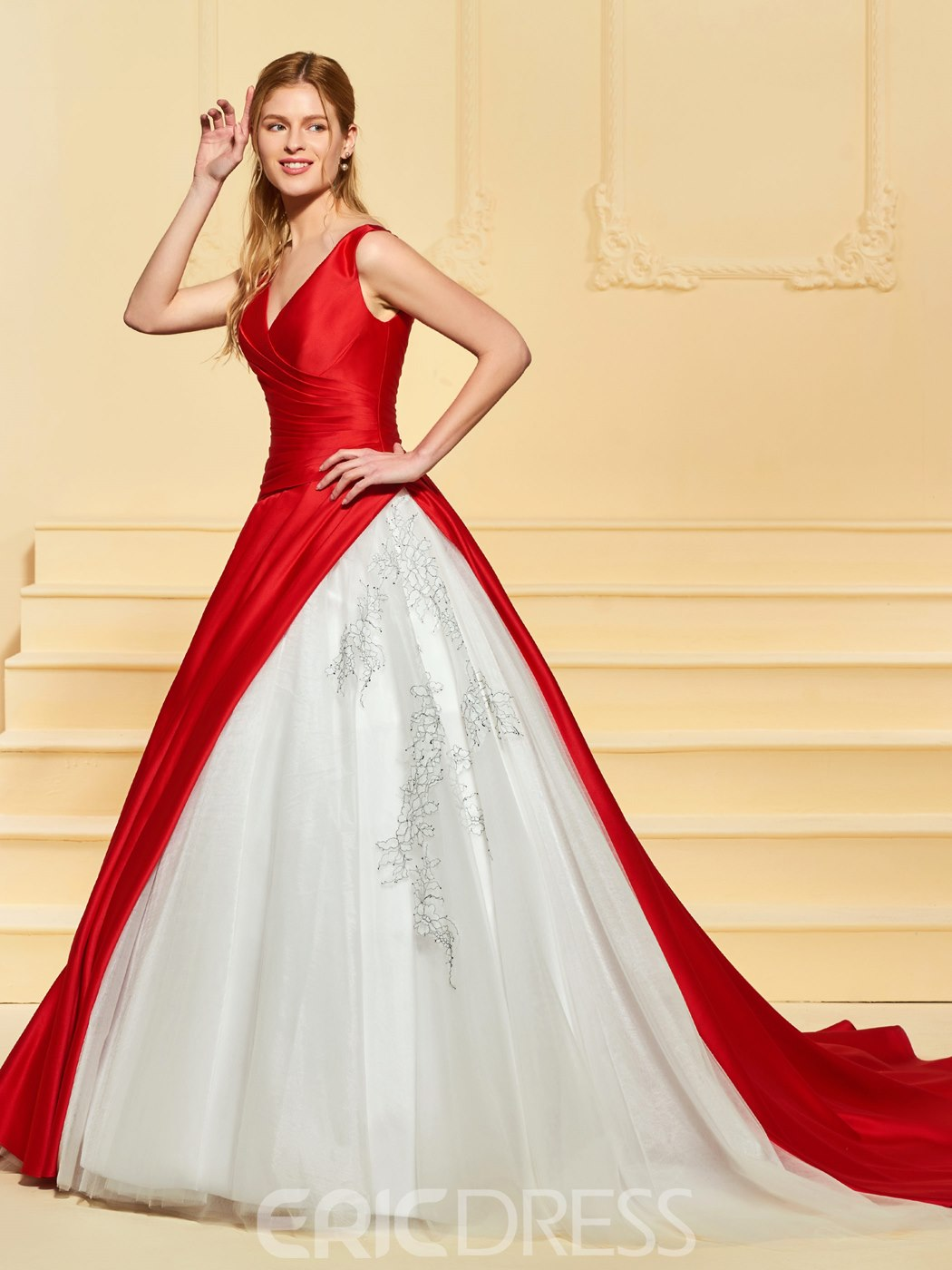 Ericdress Ball Gown Appliques Red Wedding Dress