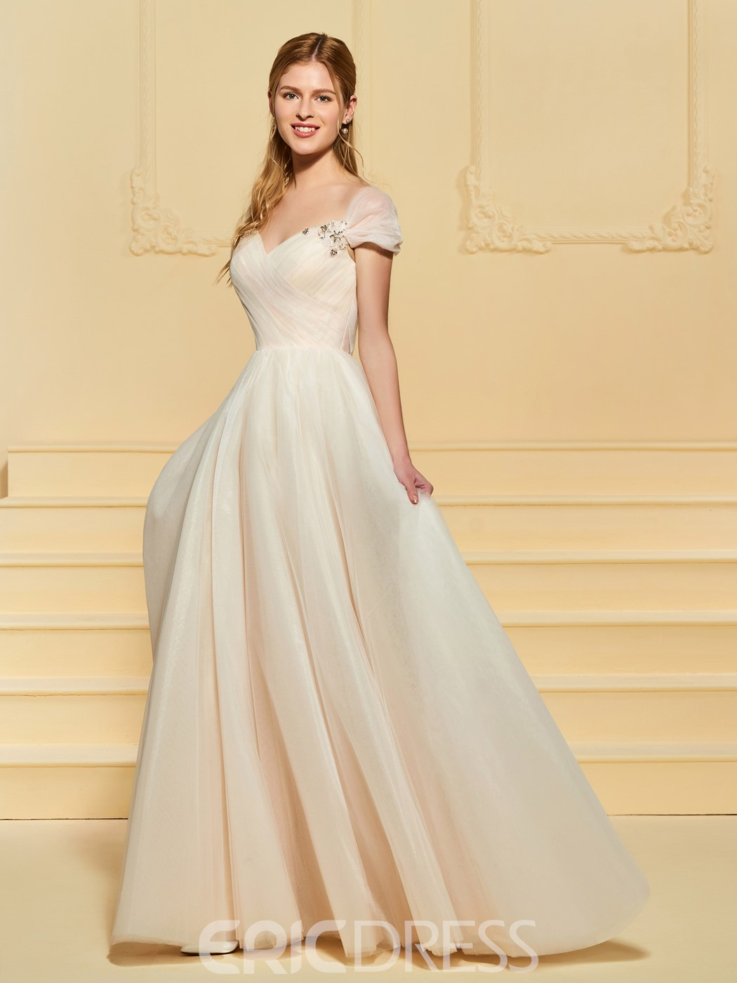 Ericdress Cap Sleeve Beading Beach Wedding Dress 13190461