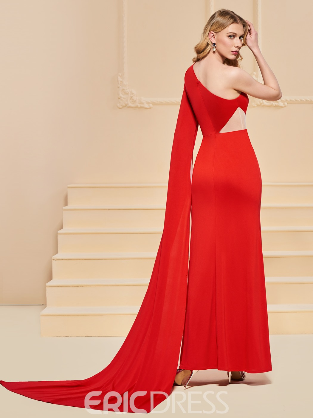 Ericdress Sheath One Shoulder Mermaid Red Evening Dress