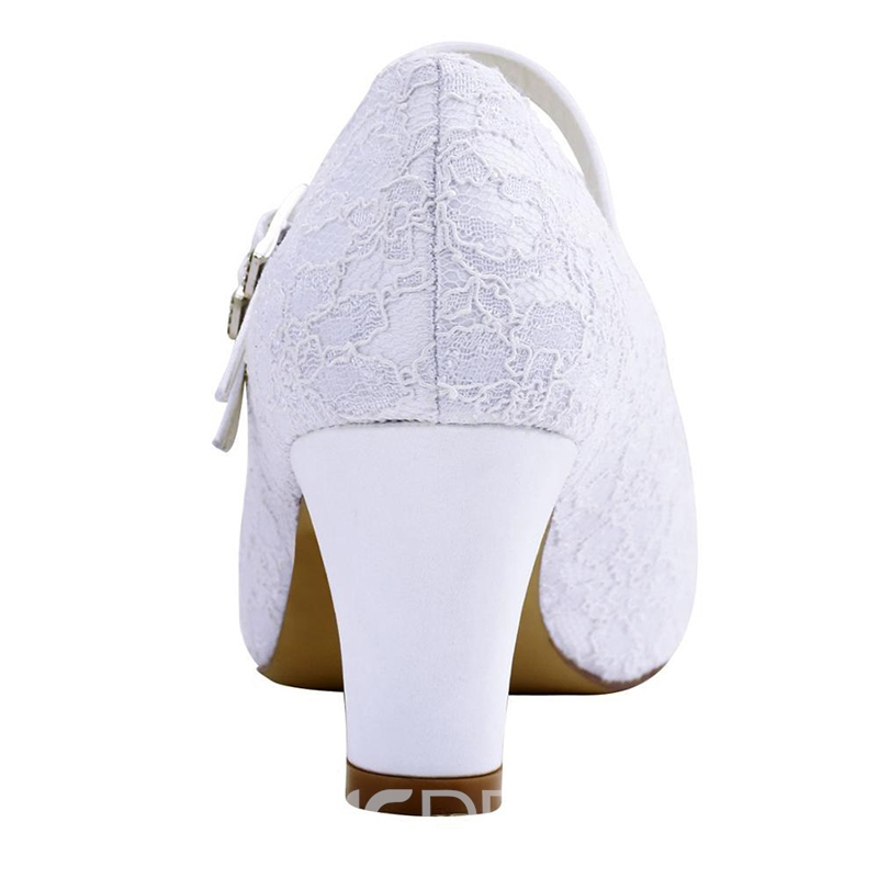 Ericdress Lace Round Toe Plain Chunky Heel Wedding Shoes