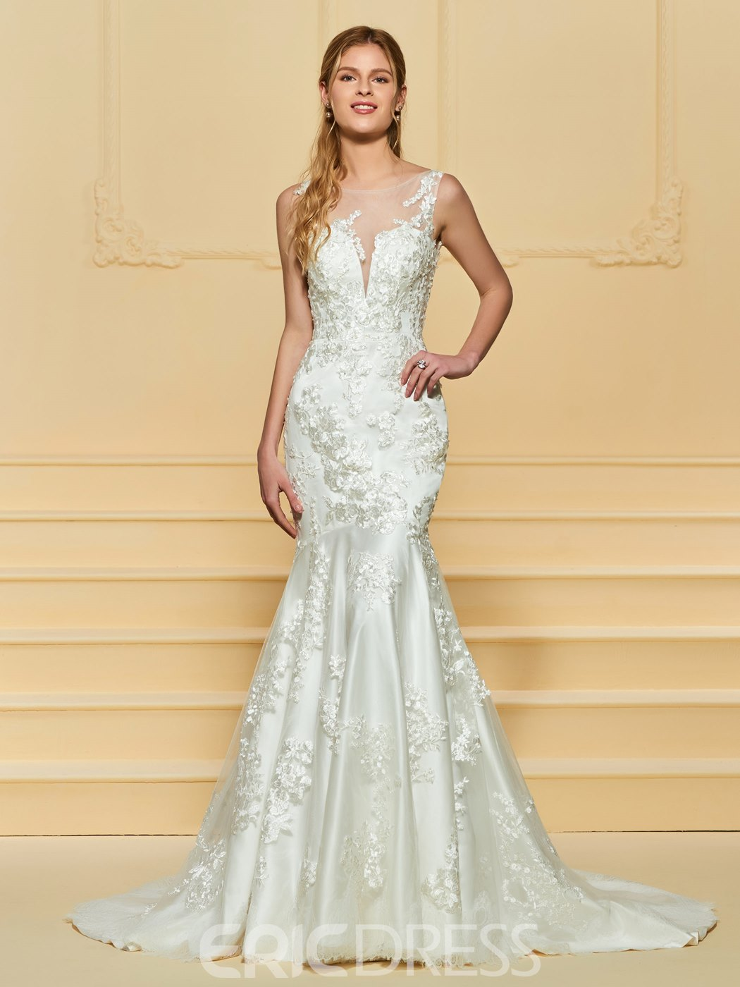 Ericdress Illusion Neckline Mermaid Appliques Wedding Dress