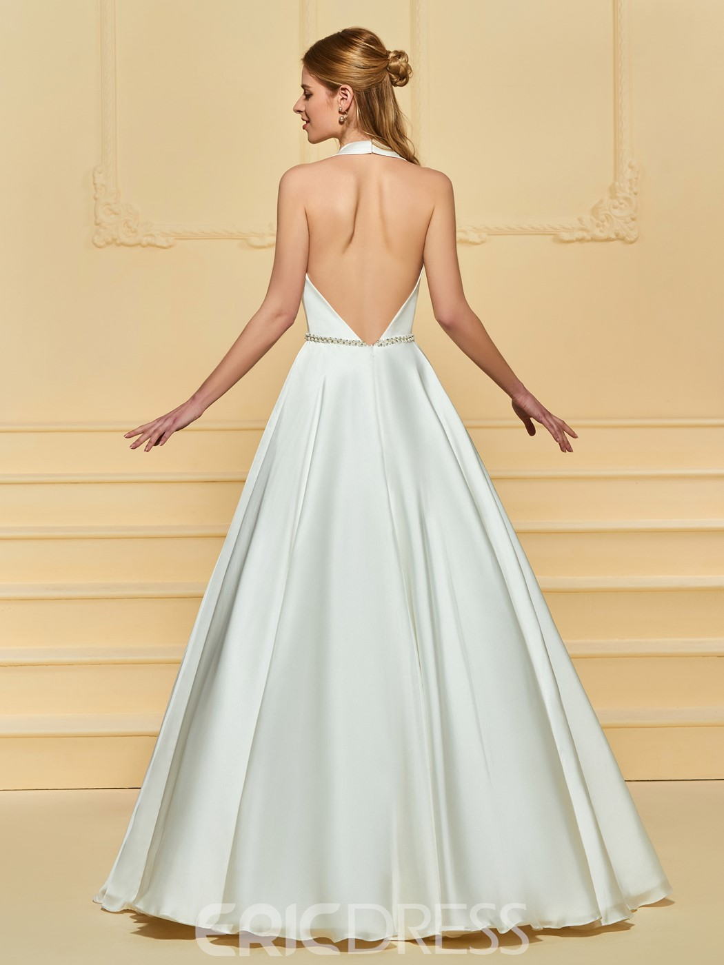 Ericdress Deep V Neck Beading Backless Wedding Dress