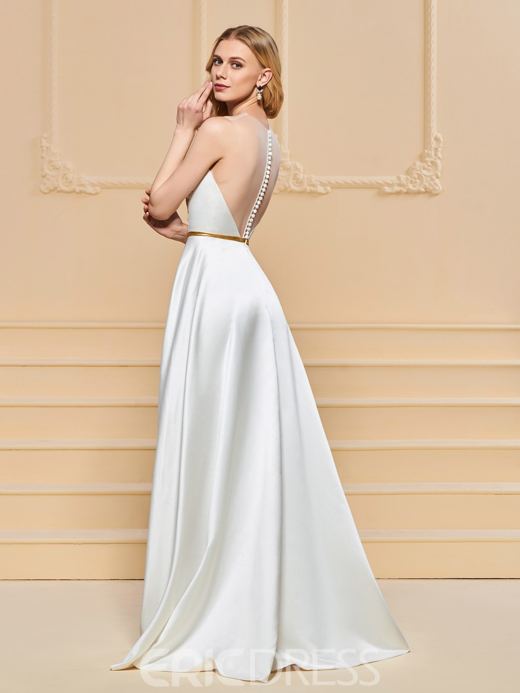 Ericdress A Line Scoop Neck Applique Long Evening Dress