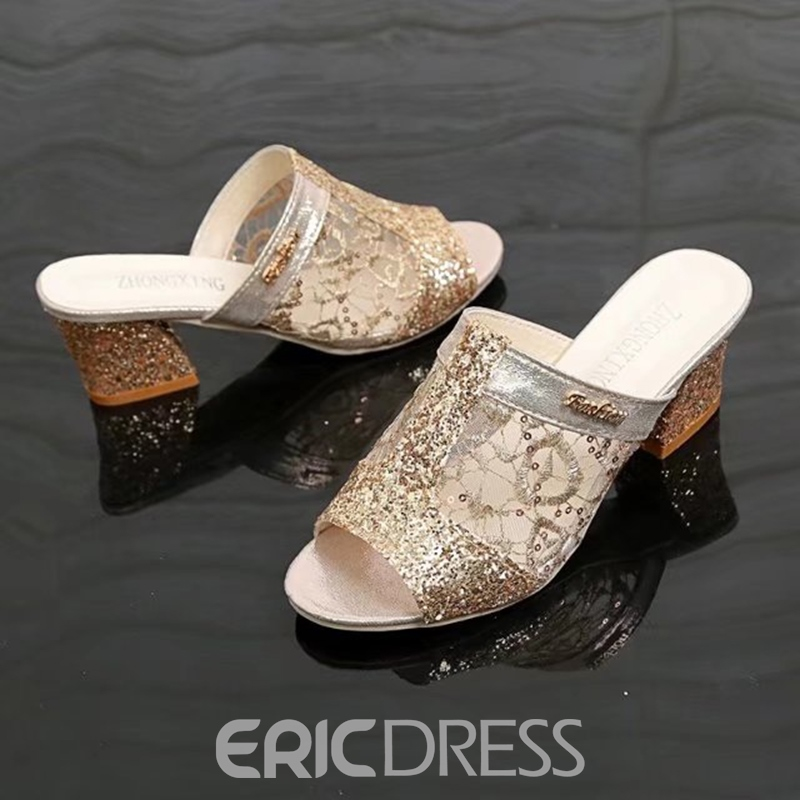 Ericdress Flip Flop Slip-On Plain Chunky Mules Shoes