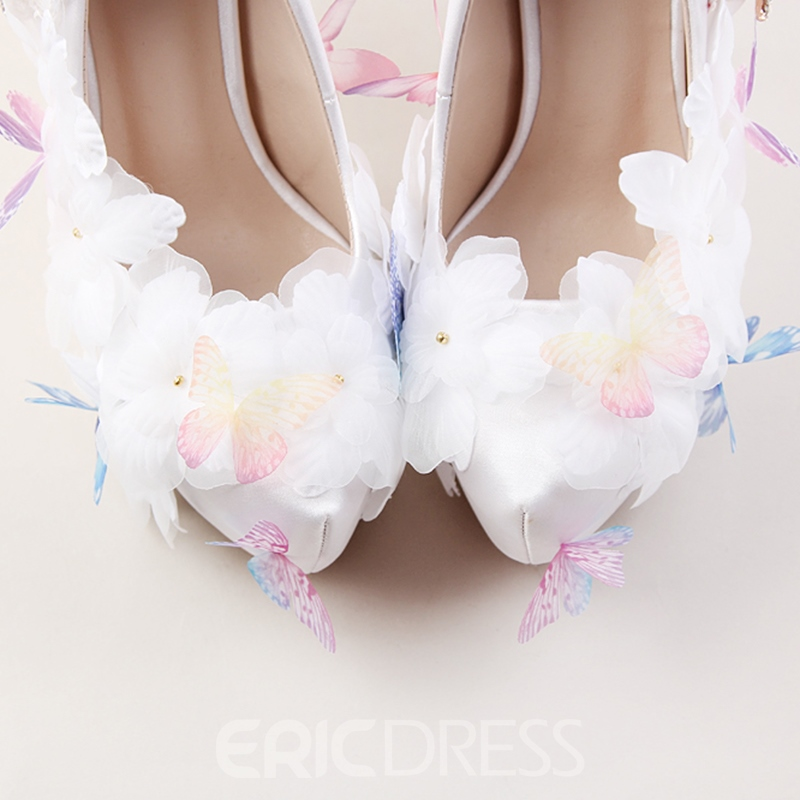 Ericdress Floral Rhinestone Round Toe Platform Stiletto Heel Wedding Shoes
