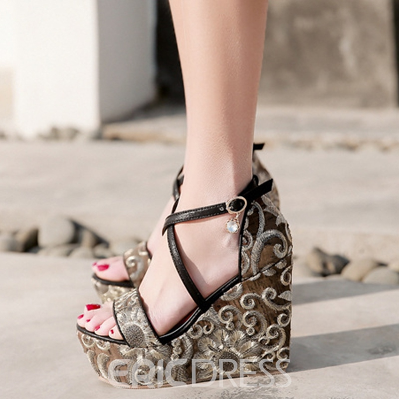 Ericdress Sequin Open Toe Platform Wedge Sandals