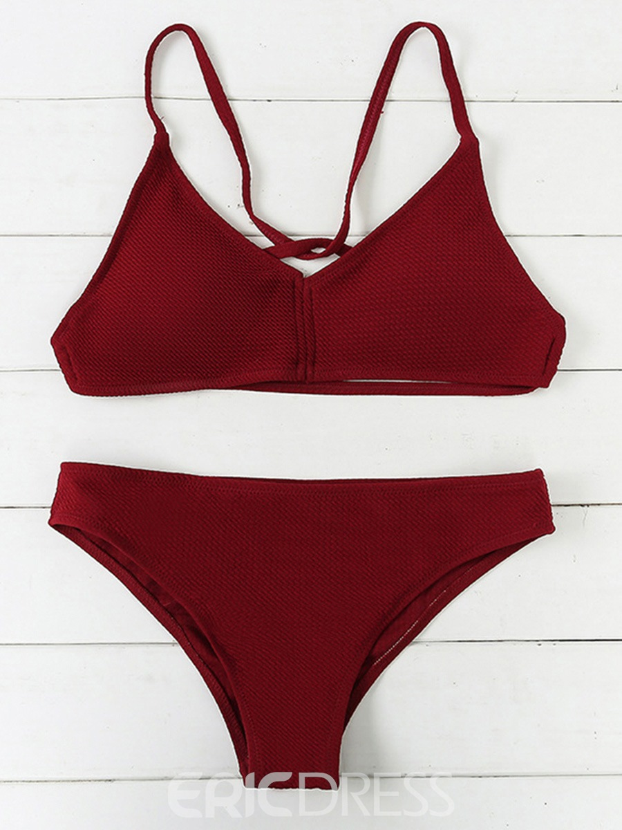 Ericdress Red Plain 2-Pcs Bikini Swimsuits