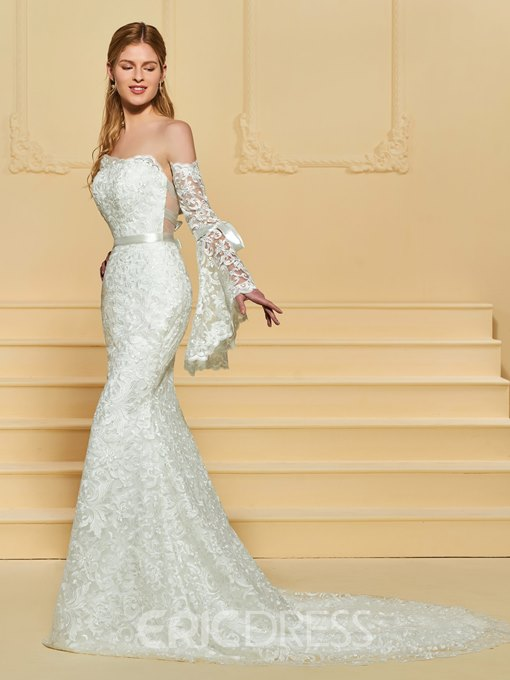 Ericdress Strapless Mermaid Lace Wedding Dress with Sleeves