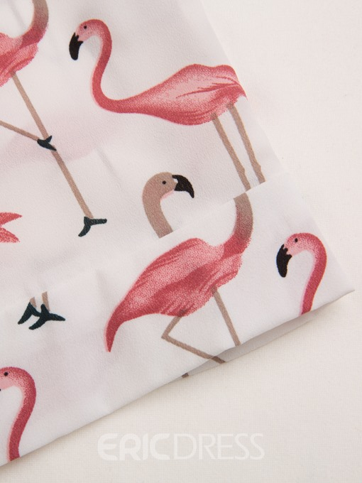 Flamingo Print Falbala Patchwork Women's Shorts Two Piece Set