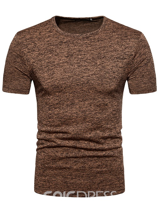 Ericdress Round Neck Plain Slim Mens T-shirt