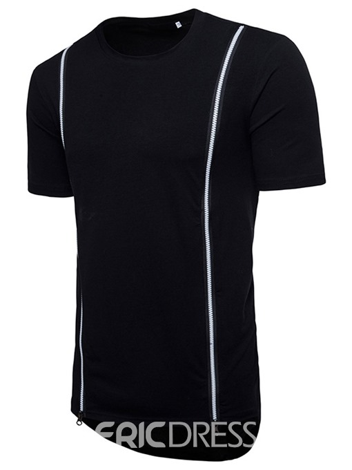 Ericdress Zipper Round Neck Plain Slim Mens T-shirt