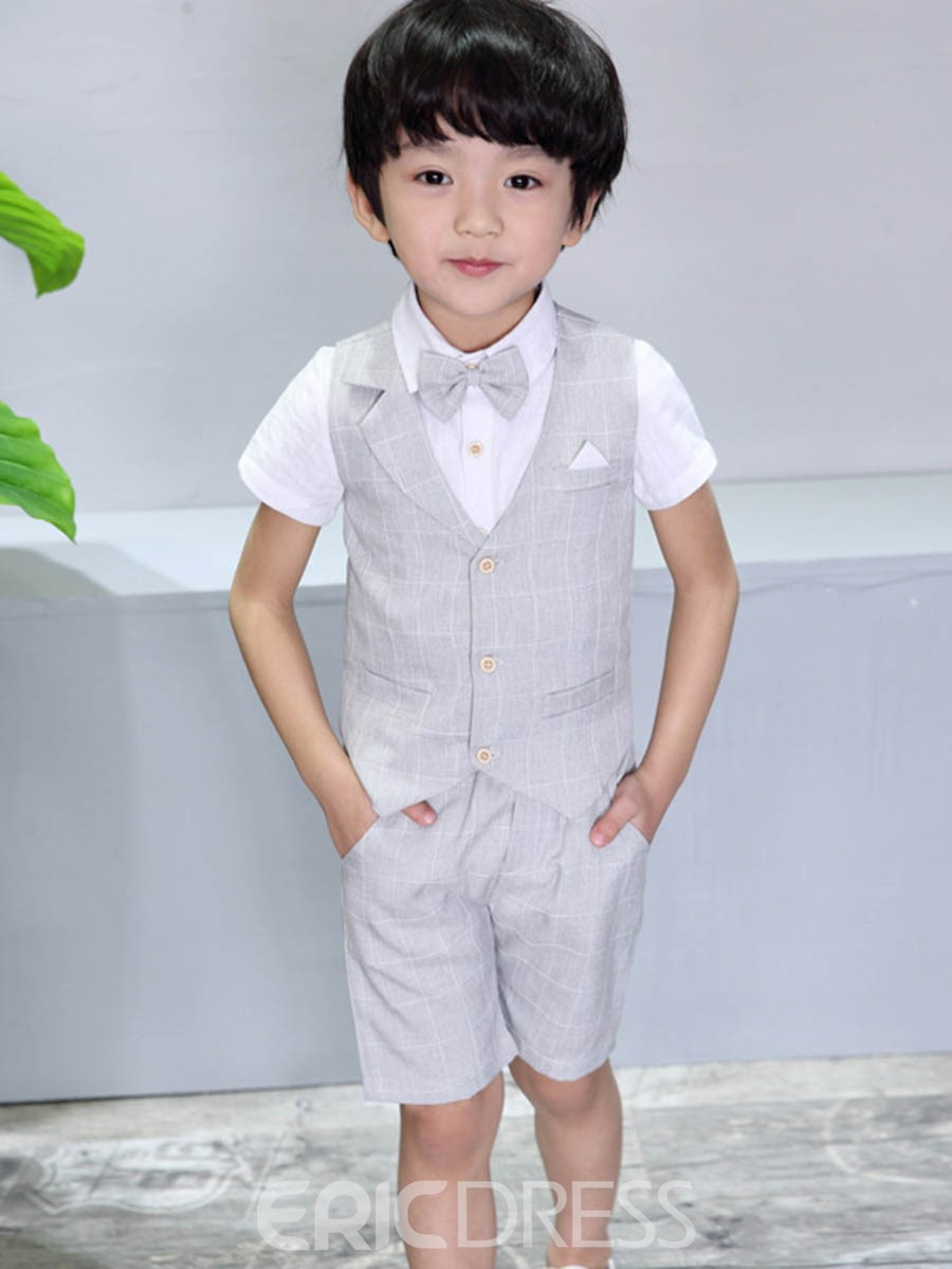 Ericdress Plaid Patchwork Boy's Suit Short Sleeve Shirt Vest Shorts