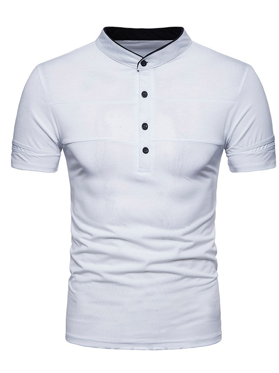 Ericdress Plain Half Button Mens Short Sleeve Loose Tee Shirt