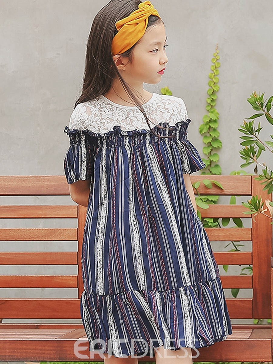 Ericdress Lace Stripe Flare Sleeve Girl's See-Through Dress