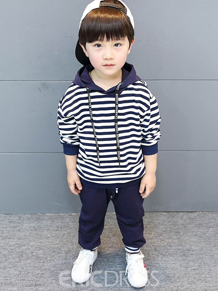Ericdress Stripe Pocket Boy's Pullover Casual Suit Hoodie Pants