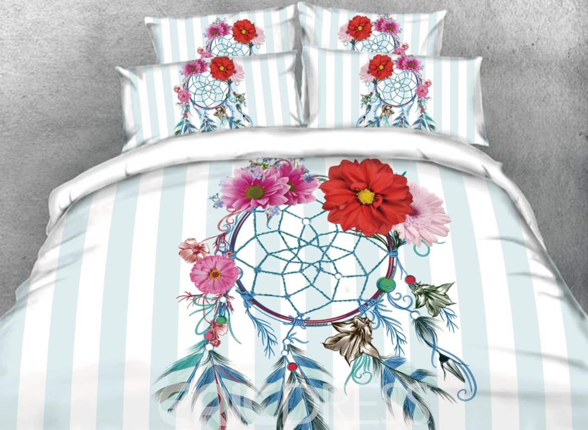 Vivilinen 3D Dreamcatcher with Daisy and Blue Stripes Printed 4-Piece Bedding Sets/Duvet Covers