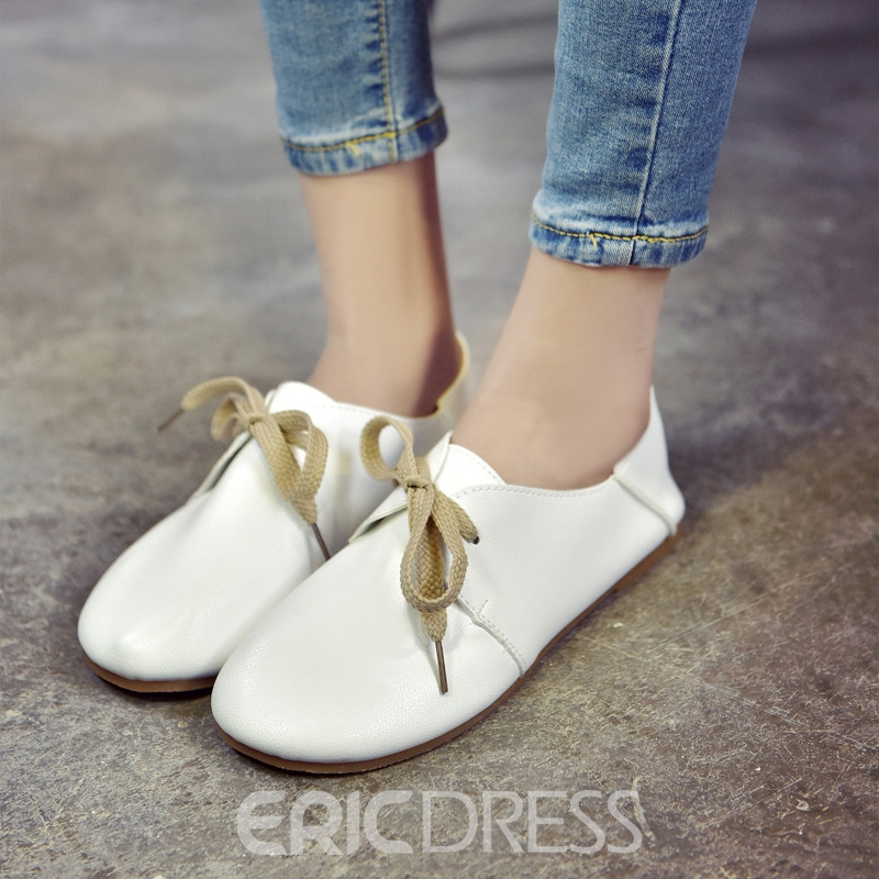 Ericdress Low-Cut Lace-Up Plain Women's Flats