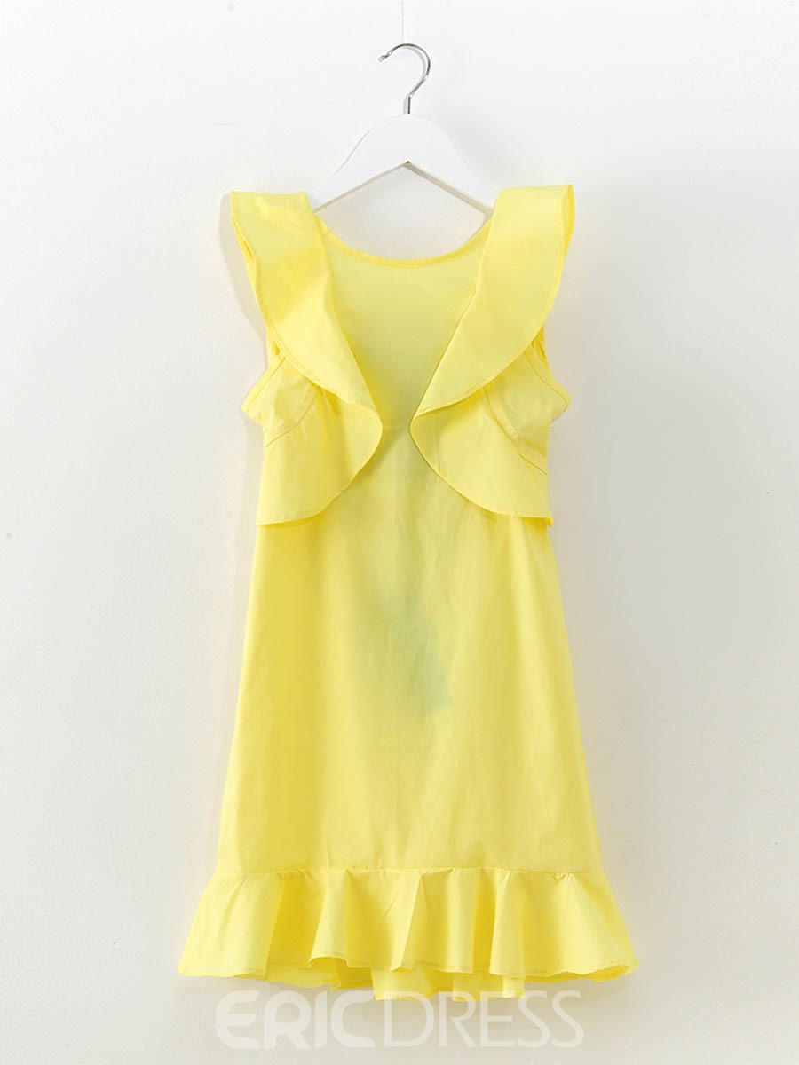Ericdress Ruffles Bowknot Girl's Sleveless Plain Pullover Dress