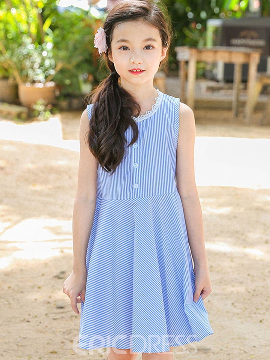 Ericdress A-Line Stripe Sleeveless Girl's Scoop Button Dress