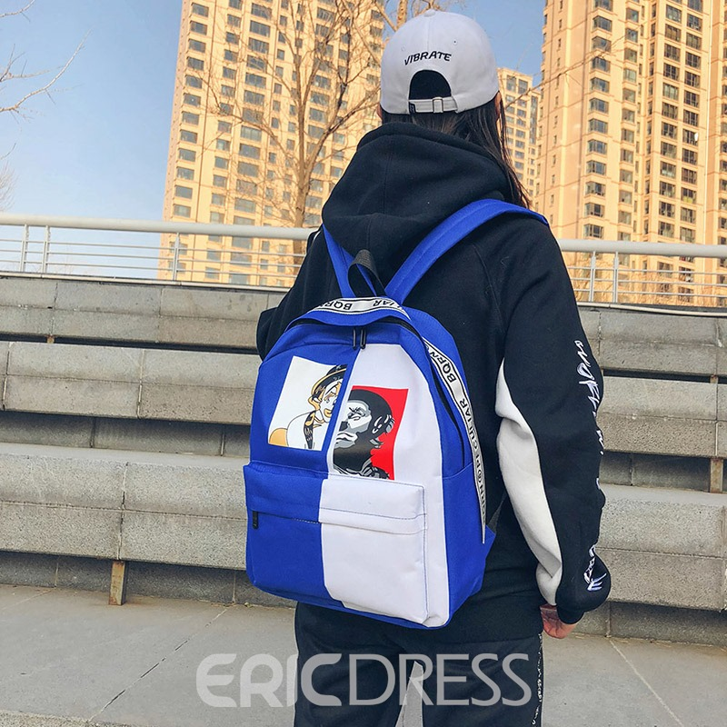 Ericdress Personality Pattern Canvas Backpack