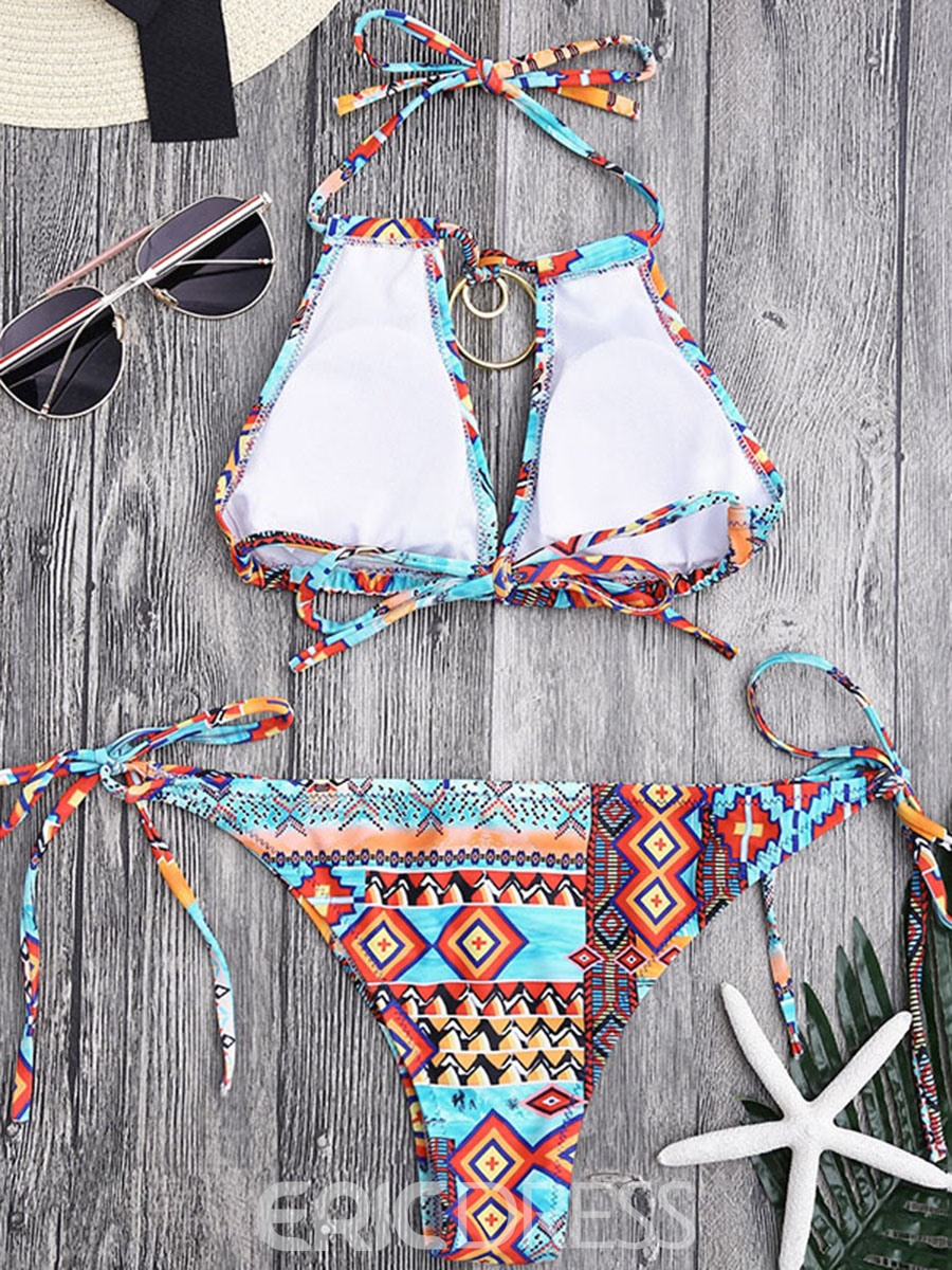 Ericdress Lace-Up Halter Geometric Bownot Tie Front 2-Pcs Bikini Bathing Suits