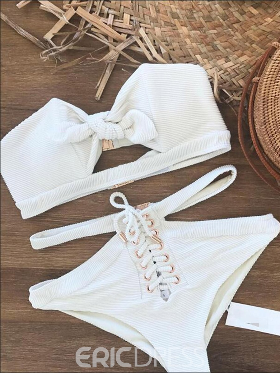 Ericdress Off the Shoulder Plain Tie Front High Waist White Bikini Suits