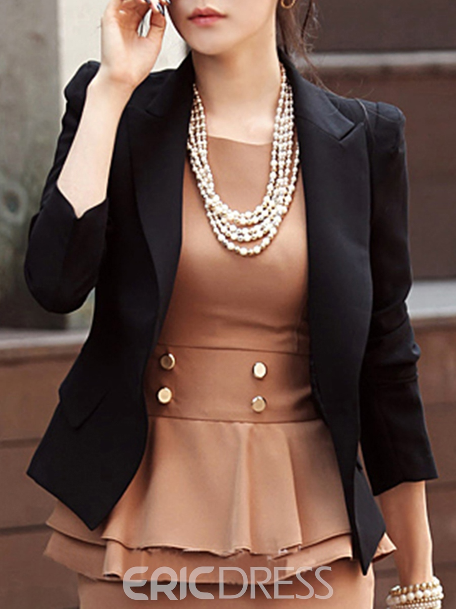 Ericdress Plain Slim Short Blazer