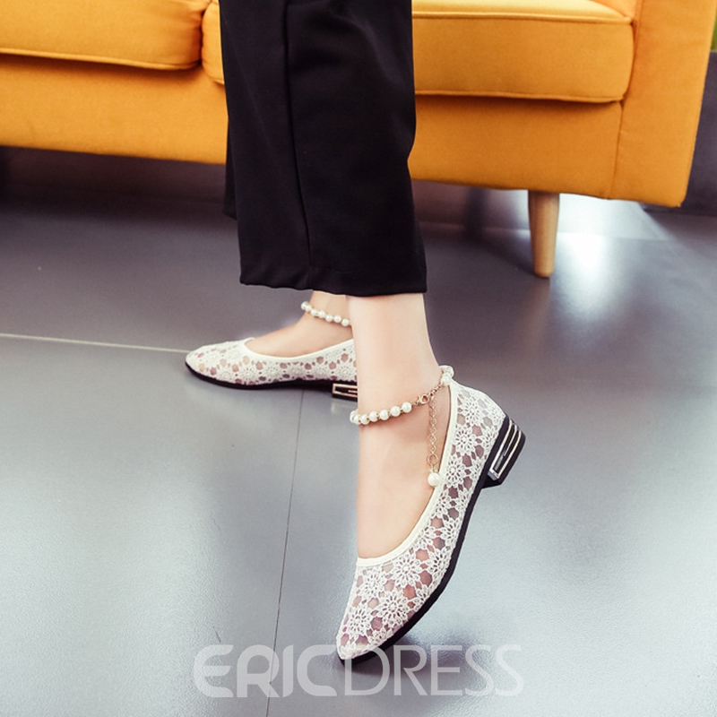 Ericdress Lace Slip-On Women's Flats with Beads